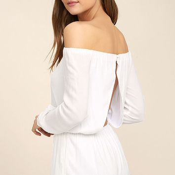 Tavik Carey White Off-the-Shoulder Romper