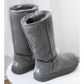 UGG Fashion Casual Classic Boots Wool Fur Boots High Boots Shoes Grey G