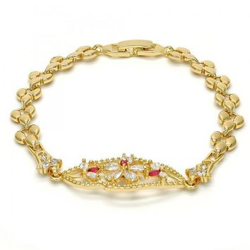 Gold Layered 03.210.0040.4.08 Fancy Bracelet, Flower and Leaf Design, with White and Ruby Cubic Zirconia, Polished Finish, Gold Tone