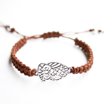 Owl Bracelet Brown Hemp Macrame Friendship Free Shipping Black Friday Etsy Cyber Monday Etsy