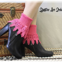 Lace sock, lace socks, lace socks for boots, cuff socks, short boot socks, shootie socks, socks, women, Signature Lace Sock Hibiscus | SLC2