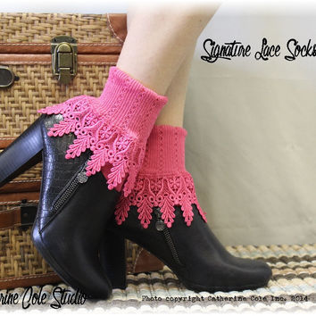 Lace sock, lace socks, lace socks for boots, cuff socks, short boot socks, shootie socks, socks, women, Signature Lace Sock Hibiscus   SLC2
