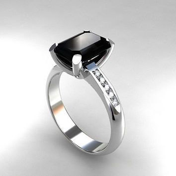 Emerald cut black spinel ring, engagement ring, diamond ring, white gold, yellow ring, black engagement, spinel, solitaire, gothic