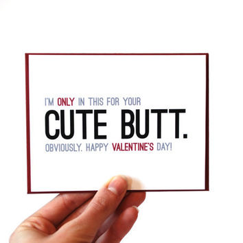 Funny Valentine Card - Valentines Day Card - Cute Butt
