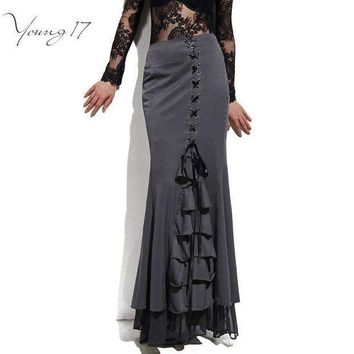 PEAPYV3 Young17 Skirt Long Frilly Women Sexy Fishtail Corset Lace-Up Slim Floor-Length Vintage trumpet sexy gothic style Mermaid skirts