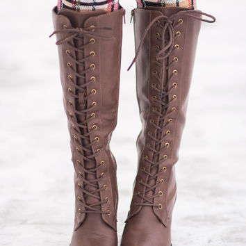 Not To Worry Tall Lace Up Boots-Brown