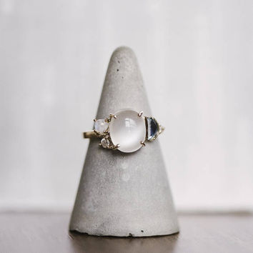 Moonstone Engagement Ring | Asymmetrical Ring | Diamond Ring | Blue Topaz | Engagement Ring |  Fine Jewelry | Moonstone Ring | 14kt Gold