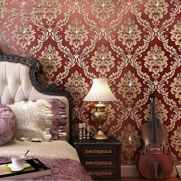 3D Stereoscopic Relief Background Wall Decorative Wall Paper Rolls High Quality Thickening Damask Wallpaper Living Room Bedroom