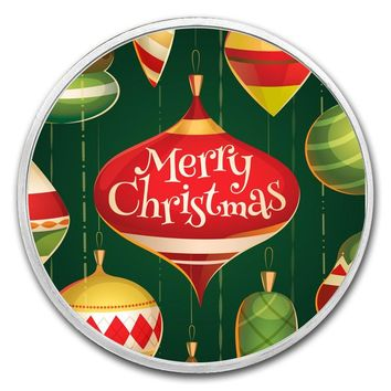 1 oz Silver Round - Merry Christmas Ornaments