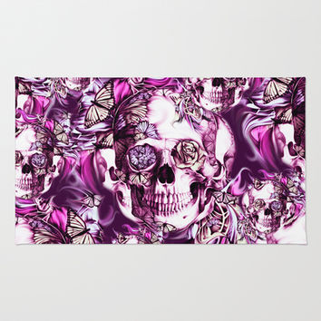 Plum Smoke and roses skull Illustration. Area & Throw Rug by Kristy Patterson Design