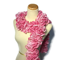 Christmas In July Hand Knit Scarf Ruffle Scarf Pink Breast Cancer Awareness