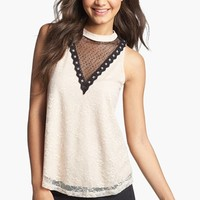 Lush Mock Neck Lace Tank (Juniors) | Nordstrom