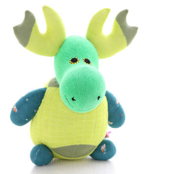 Handmade  Personalized  Green Moose for kids  Stuffed Animal  baby  Plush Toy  sock doll    Ready to Ship 2#