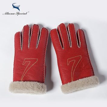 Athena Special 2016 Winter keep Warming Genuine Leather Wool Fur Gloves For Women Heavy Type Real Leather Cute Gloves