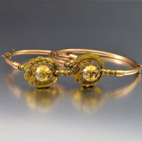 Etruscan Antique Victorian Wedding Bracelet Pair, C 1870s