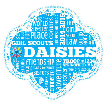 Personalized Daisy Girl Scouts Word Art with Names