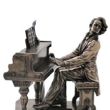 Frederic Chopin Playing Piano Music Composer Statue, Bronze Finish