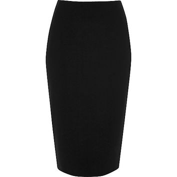 Black jersey midi pencil skirt