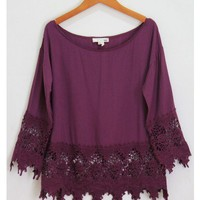 Plum Crochet Trim Long Sleeve