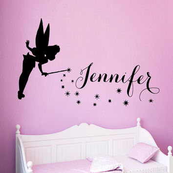 Fairy Girl Wall Decals Tinkerbell Girl Personalized Name Vinyl Decal Sticker Art Mural Interior Design Baby Kids Nursery Room Decor KG893
