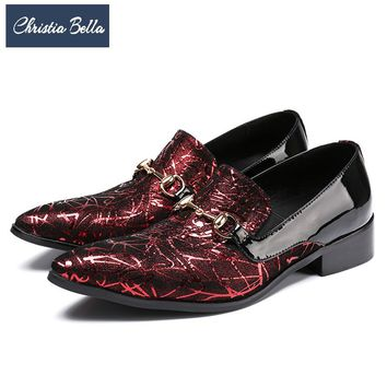 Christia Bella Italian Fashion Business Men Dress Shoes Genuine Leather Pointed Toe Wedding Formal Shoes Plus Size Office Shoes
