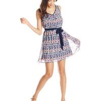 A. Byer Junior's Printed Sleeveless V-Neck Dress with Lattice Back