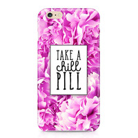 Relax Series - Take a Chill Pill Phone Case, Chill Out Phone Case, Pink Peonies Phone Case, Flowers Phone Case, iPhone, Samsung Galaxy