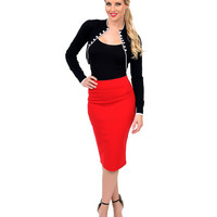 Red High Waist Stretch Pencil Skirt