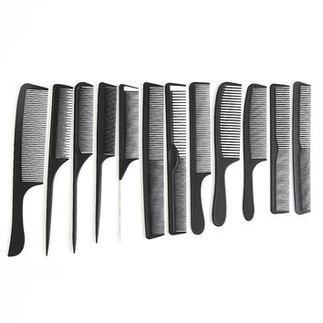 12 Style To Choose Hairdressing Black Hair Cutting Comb Carbon Hair Tail Combs Different Design Pro Salon Barber Styling Tools