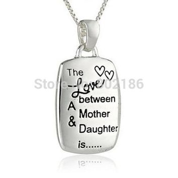 Silver Plated Chain Necklace Stamped Love Between Mother and Daughter Charms Necklaces Vintage Engraved Rectangular Pendant