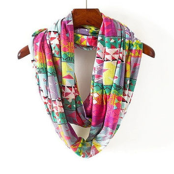 Women neck scarf , Autumn Winter Multifunction circle Csarves, Geometric Patterns Multi-colored Infinity Scarf Jersey Knit ring hood