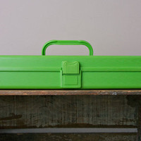 Vintage Sewing Supplies Kit in bright greenhard by MollyFinds