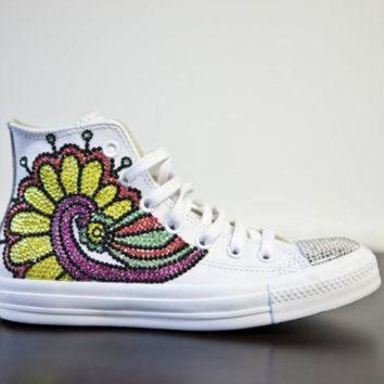 ICIKGQ8 trainers white high top customised converses with varried swarovski crystals brightly