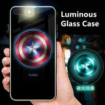 Batman Dark Knight gift Christmas Batman Superman Tiger Luminous Tempered Glass Phone Case For iPhone X Captain American Back Cover For iPhone 6 6s Plus 7 8 Plus AT_71_6
