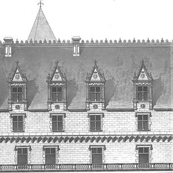 1873 Architecture Print  Facade  Antique Illustration Chateau de Pau France