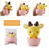 Kawaii Deer In Cup Squishy Super Slow Rising Retail Package Sweet Cream Scented Pendant Phone Straps Bread Fun Cake Kid Toy Gift