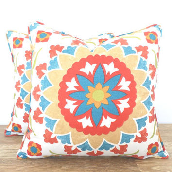 Outdoor pillow cover 18x18, ikat outdoor cushion , Suzani pillow outdoor furniture, turquoise and red cushion medallion print, tribal pillow