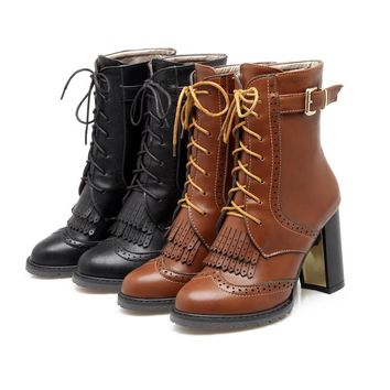 Hot Deal On Sale Tassels High Heel Plus Size Boots [11192769543]
