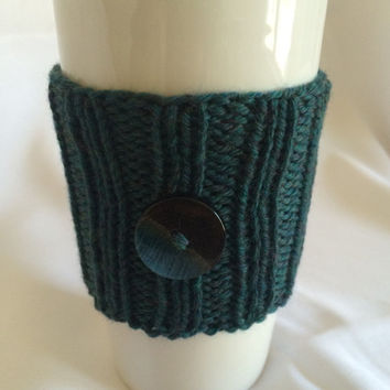 Knit Cup Cozy Knit Cup Sleeve Knit Cozy Green Cup Cozy Knit Cup Warmer Knitted Cup Sleeve Travel Cup Sleeve Green Cup Sleeve