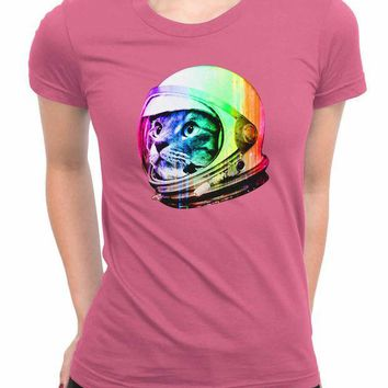 CREYH9S Astronaut Space Cat WoMen T Shirts