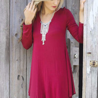 Come Around Burgundy V-Neck Long Sleeve Jersey Swing Dress