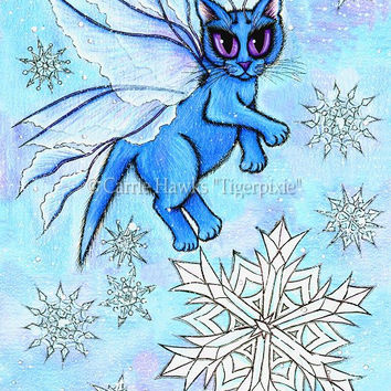 Snow Cat Art Blue Cat Fairy Winter Snowflakes Cat Fantasy Cat Art Print 8x10 Cat Lovers Gift