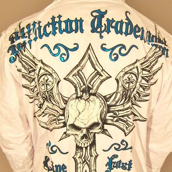 Affliction Damma Mens Zip Up Hoodie Sweatshirt White
