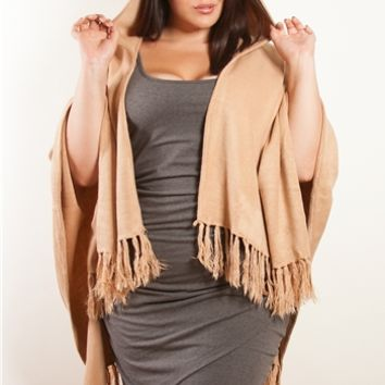 Plus Size Accessories | Hooded Fringe Poncho | Swakdesigns.com