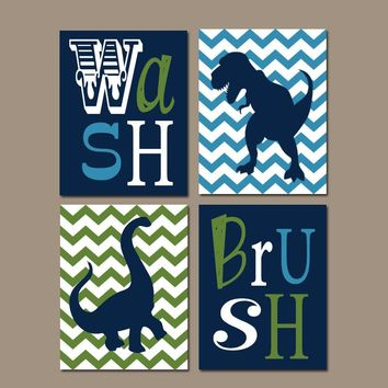 DINOSAUR BATHROOM Wall Art, Canvas or Prints Wash Brush Quote, Navy Green Brothers Chevron Dino Theme Pictures, Shared Decor  Set of 4 Decor