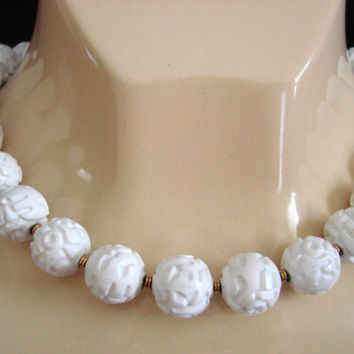 Vintage Monet White Bead Choker Necklace / Large Textured Beads / Designer Signed / Jewelry / Jewellery