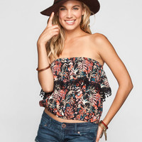 Lottie & Holly Floral Print Fringe Flounce Womens Top Black Combo  In Sizes