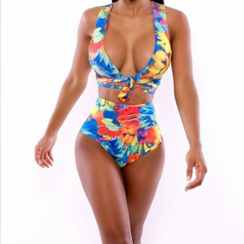 Floral Bandage High Waist Swimsuit