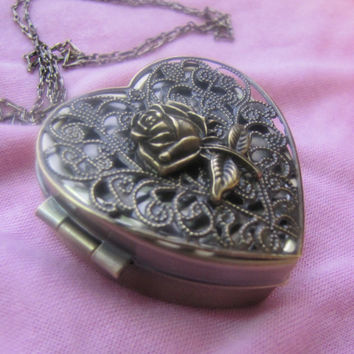 Music Box Locket Antique Bronze Heart with Rose and Necklace - Choose your song