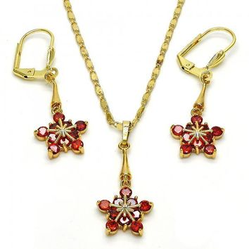 Gold Layered 10.236.0013 Necklace and Earring, Flower Design, with Garnet Cubic Zirconia, Polished Finish, Golden Tone